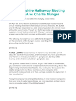 2016 Berkshire Hathaway Meeting Notes