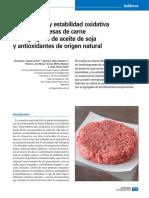 Perfil lipídico y estabilidad oxidativa de hamburguesas de carne con agregado de aceite de soja y antioxidantes de origen natural