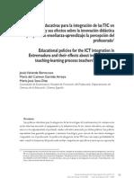Políticas educativas para la integración de las TIC_sus efectos en la innovación según la percepción del profesorado