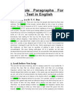 5 Sample Paragraphs for Reading Test in English