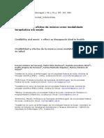ARTIGO Científico_Credibilidade e Efeitos Da Musicoterapia Como Modalidade Terapêutica Em Saúde