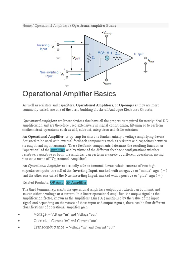 Operational Amplifier Basics Output Resistors In Parallel Opamps