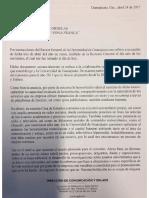 Respuesta de UG a dudas sobre convenio con Zona Franca