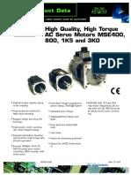 JVL High Quality, High Torque AC Servo Motors MSE400, 800, 1K5 and 3K0