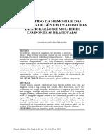 O SENTIDO DA MEMÓRIA E DAS RELAÇÕES DE GÊNERO NA HISTÓRIA DE MIGRAÇÃO DE MULHERES CAMPONESAS BRASIGUAIAS
