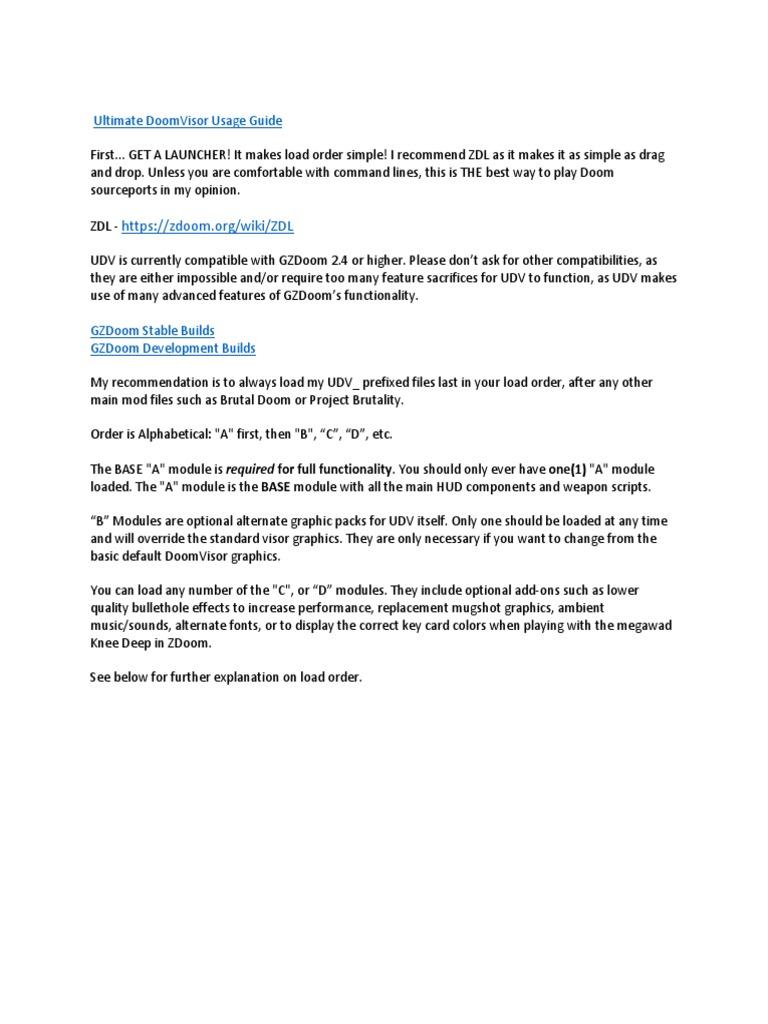 Ultimate DoomVisor Usage Guide | Command Line Interface | Digital