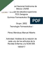 Actividad Análisis de La Relación de Cada Uno de Los Artículos de La Revista Enfarma y La NOM 059