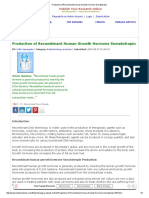 Production of Recombinant Human Growth Hormone Somatotropin