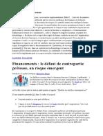Financements Le Défaut de Contrepartie Prêteuse, Un Risque Émergent