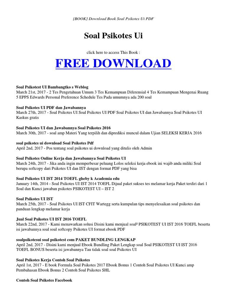 Free Download Contoh Soal Psikotes Pdf Entrancementonly
