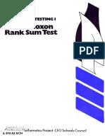 Hypothesis Testing 1 the Wilcoxon Rank Sum Test
