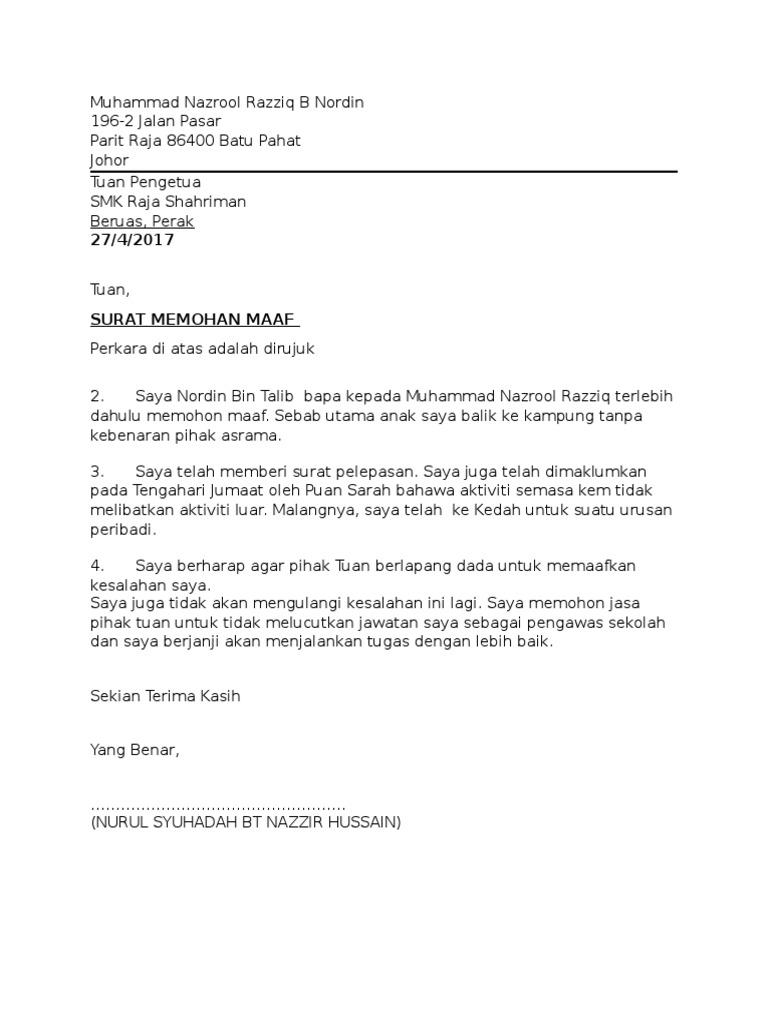 Contoh Surat Kiriman Rasmi Memohon Maaf