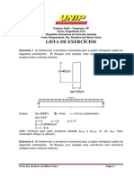 LISTA DE EXERCÍCIOS resolvida de Estruturas de Concreto Armado