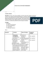 checklist of activities worksheet