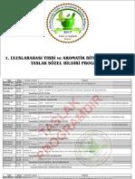 1.Uluslararası Tıbbi ve Aromatik Bitkiler Kongresi Taslak Programı