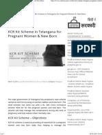 KCR Kit Scheme in Telangana for Pregnant Women & New Born
