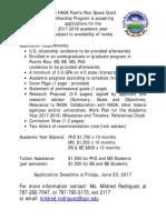 NASA PR Space Grant Fellowship Program 2017-2018