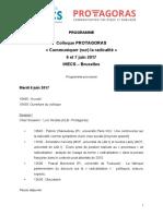 Programme - Colloque Protagoras - 6-7 juin 2017