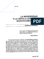 Modernidad y Crítica Literaria Hispanoamericana