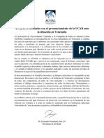Comunicado AUSJAL en Respaldo a La UCAB-situación Venezuela