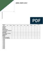 Planilla de Comprobación de Tareas Domiciliarias