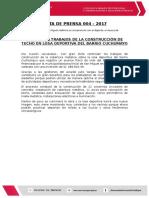 Np 004 - 2017 Avanzan Trabajos de Techo de Cobertura Cuchumayo