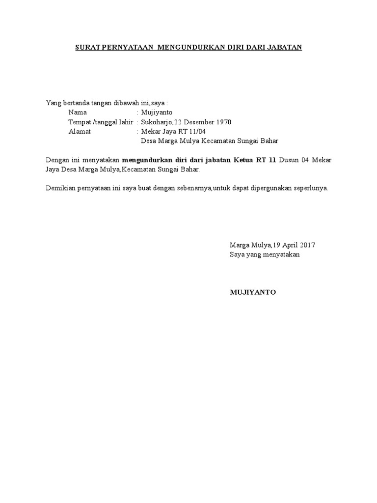 Contoh Surat Pengunduran Diri Ketua Rt - Berbagi Contoh Surat