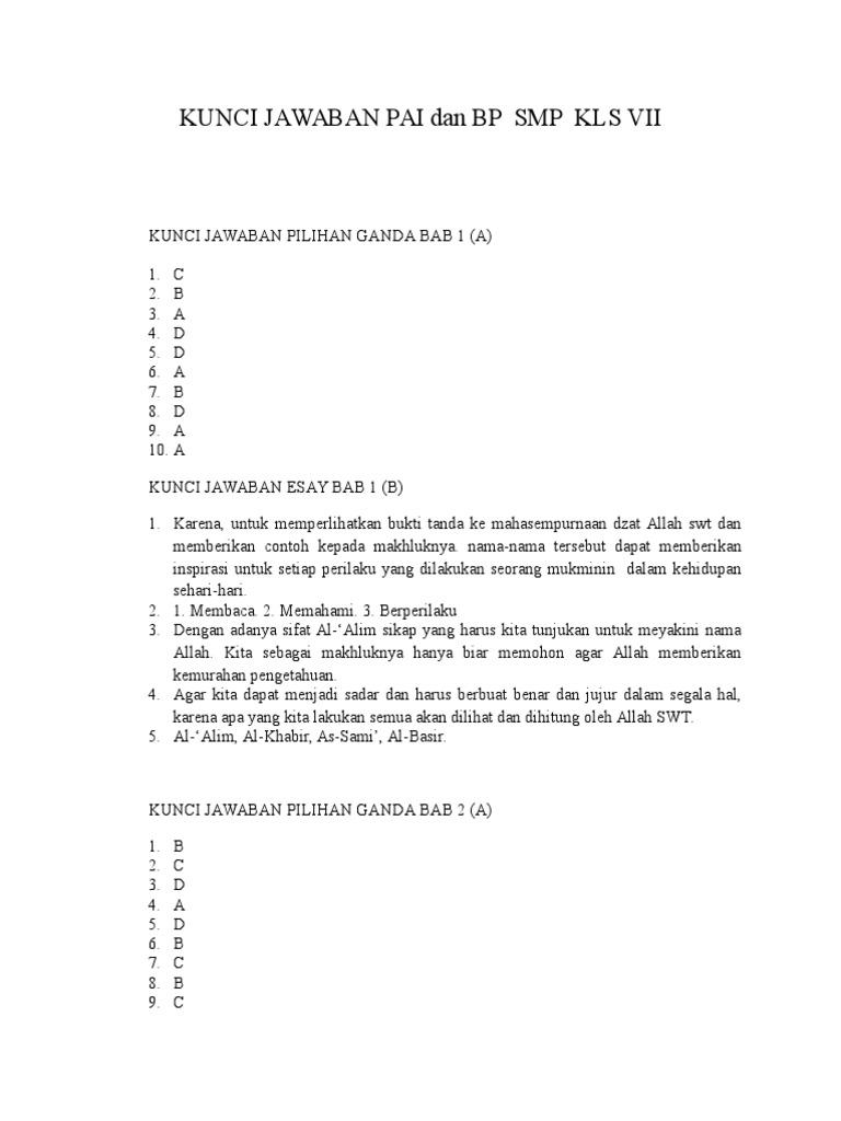 Kunci Jawaban Bab 8 Kelas 7 Pai Ilmusosial Id