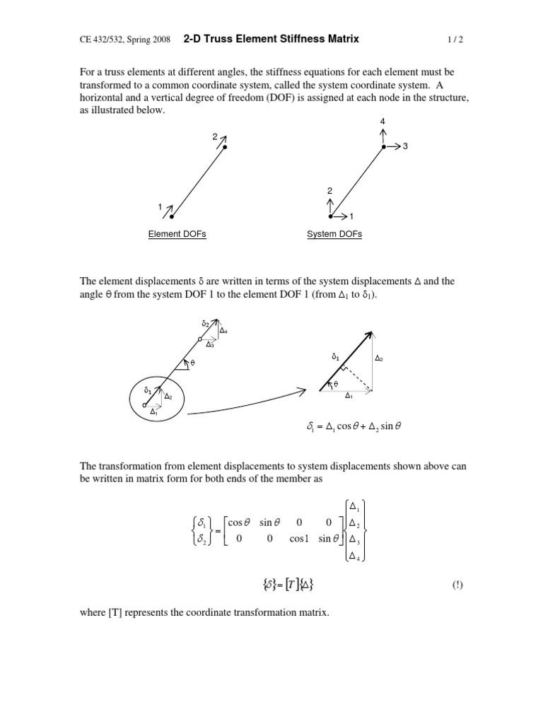 2-D Truss Element Stiffness Matrix | Stiffness