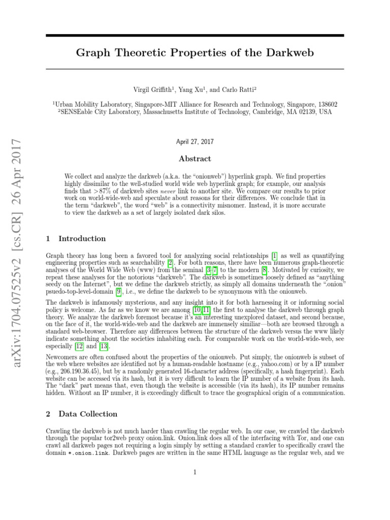 Graph Theoretic Properties of the Darkweb   Graph Theory