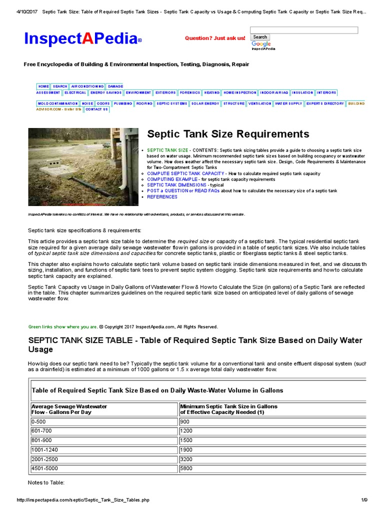 Septic Tank Size_ Table of Required Septic Tank Sizes - Septic Tank