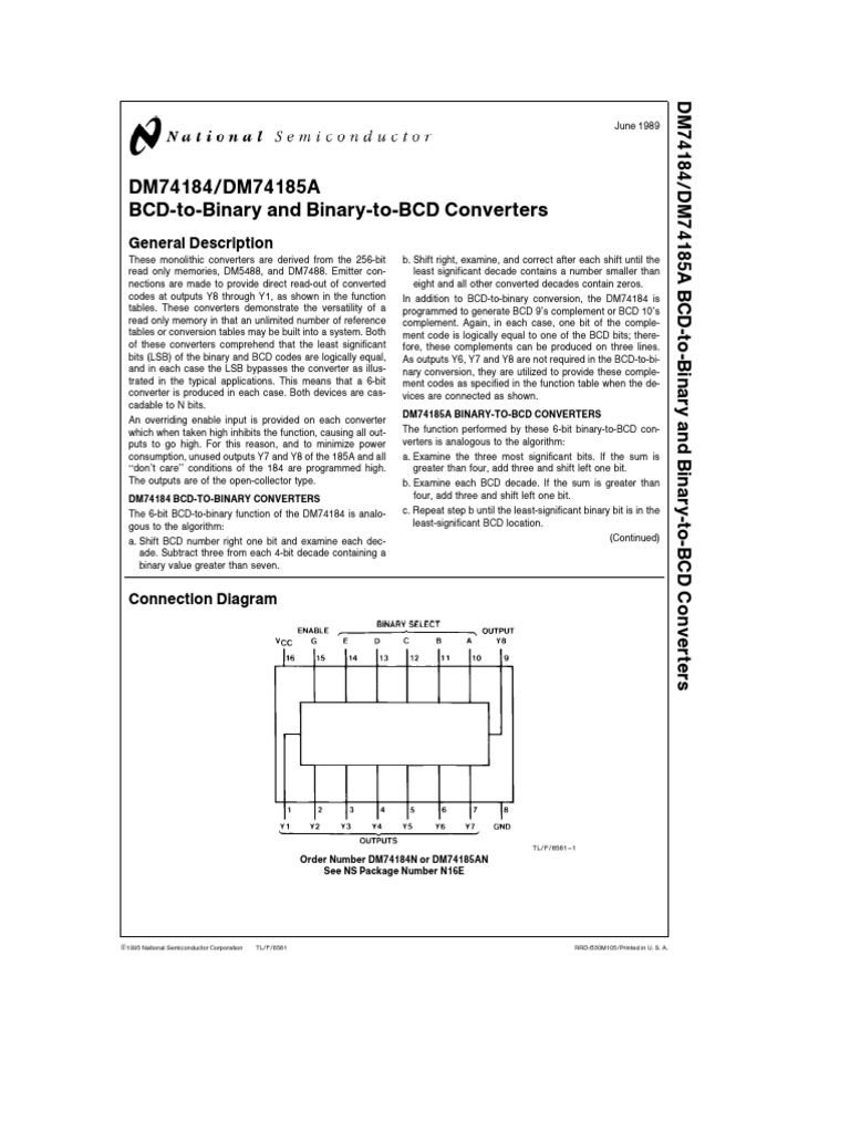 Datasheet 74184pdf Binary Coded Decimal Bit To Bcd Converter Pictures