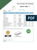 Certificado de Calidad Fact. 0001-000184 Liso LLPE Serie 2486-01 Al 11 1.00mm (11...