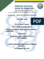 Informe Mancomunidad Rural Mafron Por Josué Alexander Calderón