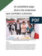 El Estado Subsidiará Pago de EsSalud a Las Empresas Que Contraten a Jóvenes (PERÚ)