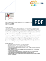 Foundations of Marketing syllabus