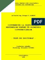 Contribuţii La Studiul Comportării Sistemelor Expert in Domeniul Constructiilor