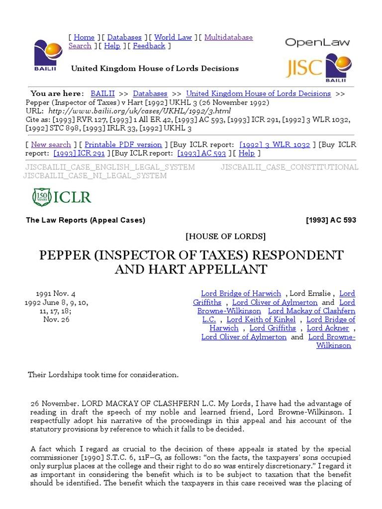 Pepper Inspector Of Taxes V Hart 1992 UKHL 3 26 November 1992