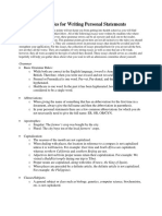 18 Grammatical Rules for Writing Personal Statements 3 Pages
