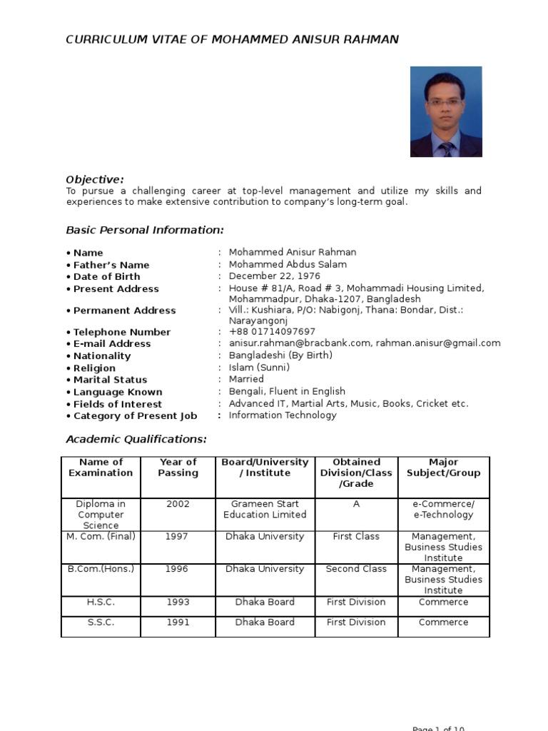 new curriculum vitae format