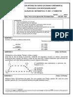 1ª Avaliaçao de Matemática 4º Ano 2016
