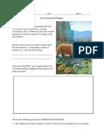 environmental change activity sheet