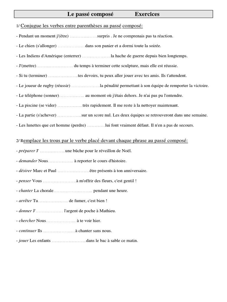 Exercices De Conjugaison Cm1 Cycle 3 Le Passe Compose Loisirs