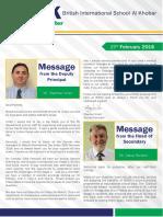 BISAK Newsletter 25th February 2016