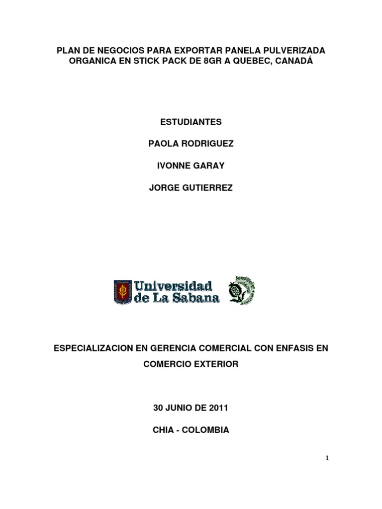 Plan de Negocios Para Exportar Panela Pulverizada Organica en Stick ...