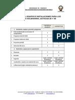 Materiales Equipo e Instalaciones Para Los Cursos.