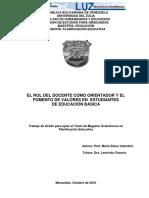 EL ROL DEL DOCENTE COMO ORIENTADOR Y EL FOMENTO DE VALORES EN ESTUDIANTES DE EDUCACIÓN BÁSICA