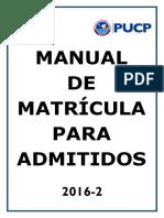 Manual de Matrícula Para Admitidos 2016 2