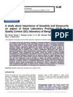 A study about importance of biosafety and biosecurity on aspect of Good Laboratory Practice (GLP) in a Quality Control (QC) laboratory of Bangladesh