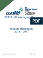 HRS204SL Module Handbook 2016-2017